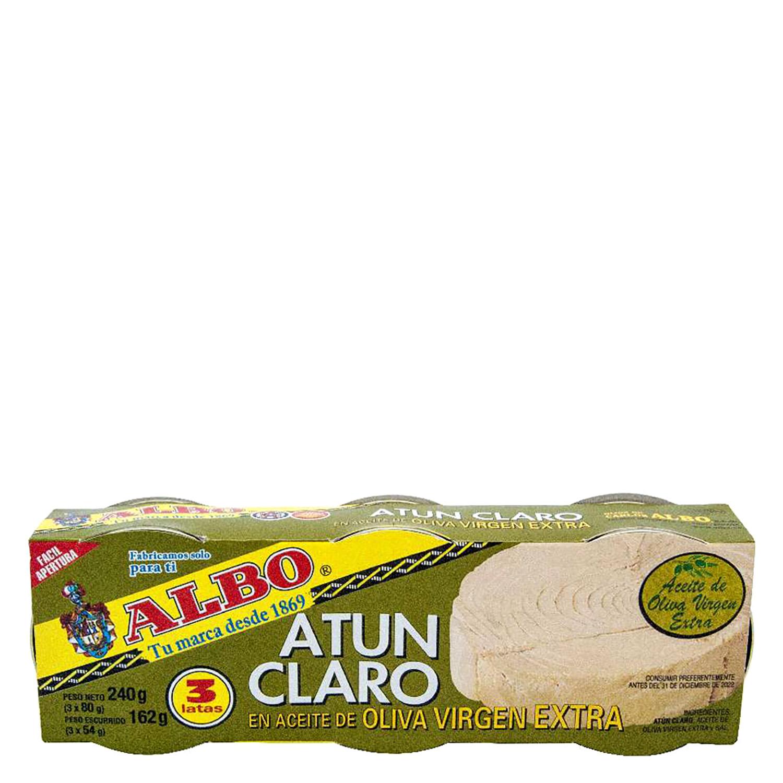 Atún claro en aceite de oliva virgen extra Albo pack de 3 unidades de 54 g.