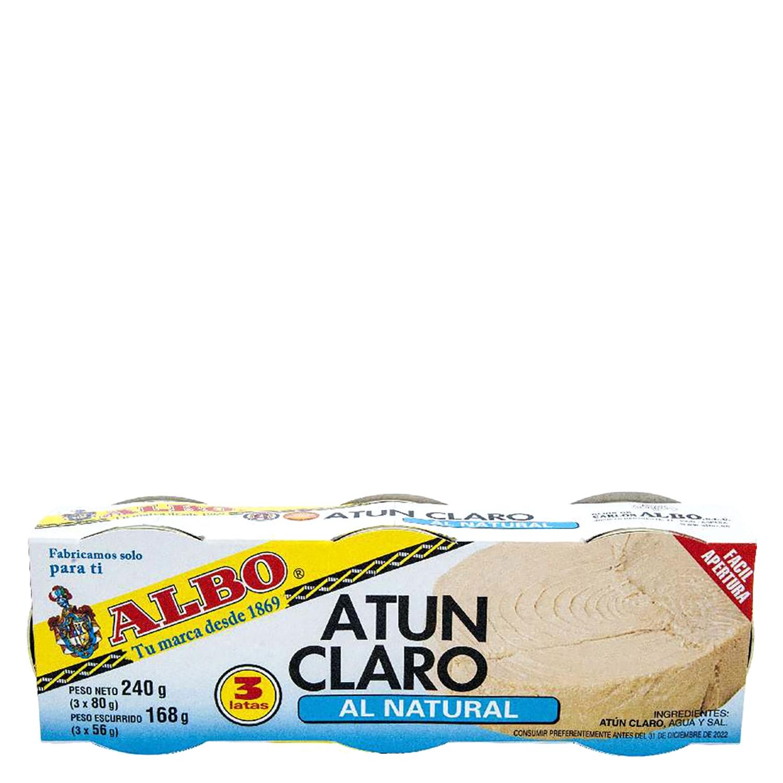 Atún claro al natural Albo pack de 3 unidades de 56 g.