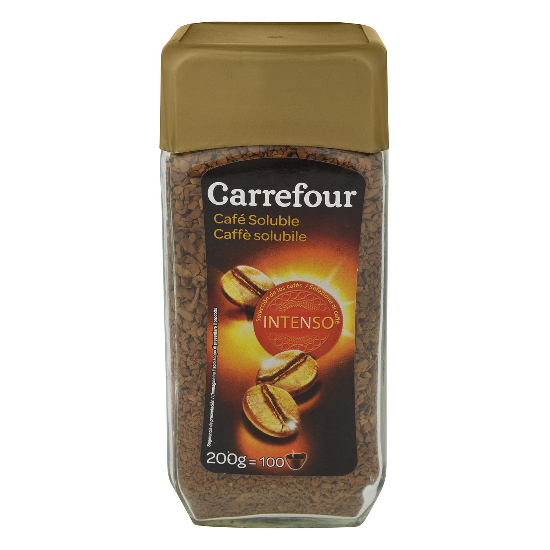 Café soluble intenso Carrefour 200 g.