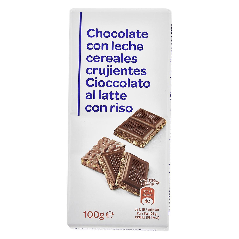 Chocolate crujiente Producto blanco 100 g.