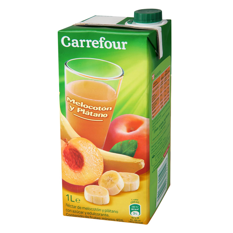 Néctar de melocotón y plátano Carrefour brik 1 l.