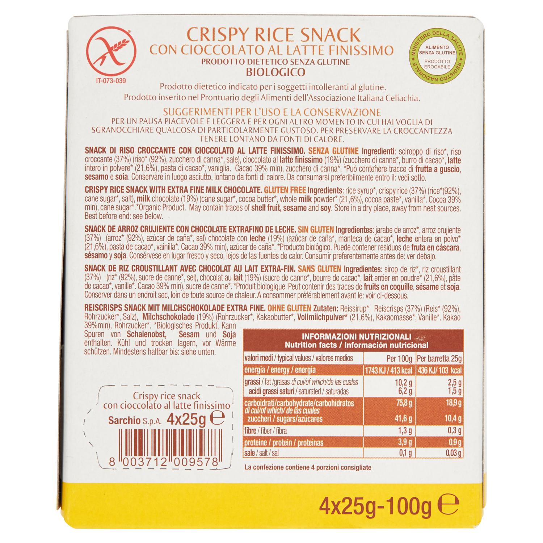 Barritas de arroz crujiente con chocolate con leche ecológicas Sarchio sin gluten 4 unidades de 25 g. -