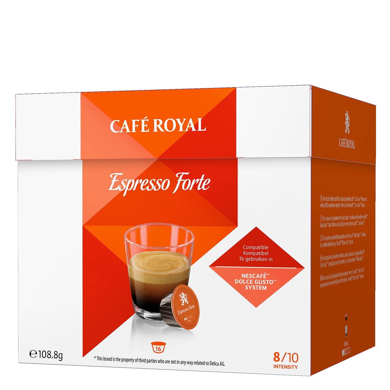 Café espresso forte en cápsulas Royal compatible con Dolce Gusto 16 unidades de 6,8 g.