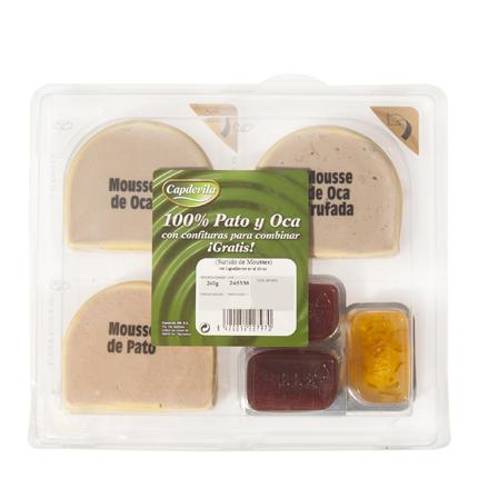 Surtido de mousses 100% pato, oca y oca con higos Capdevila pack de 3 unidades de 80 g