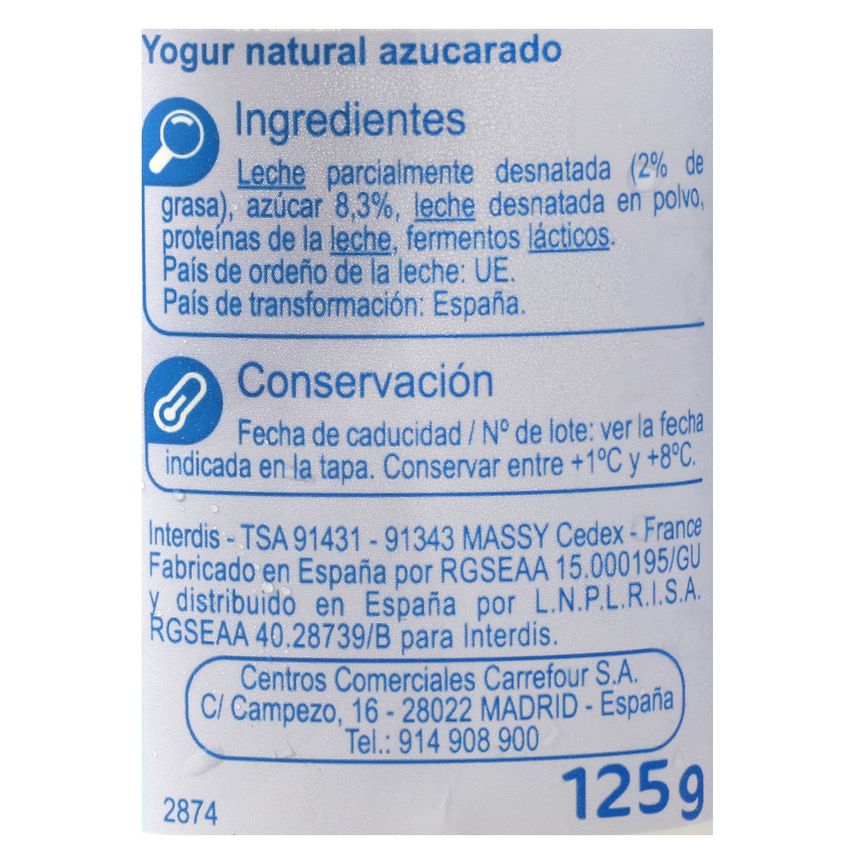 Yogur azucarado natural Carrefour pack de 4 unidades de 125 g. -