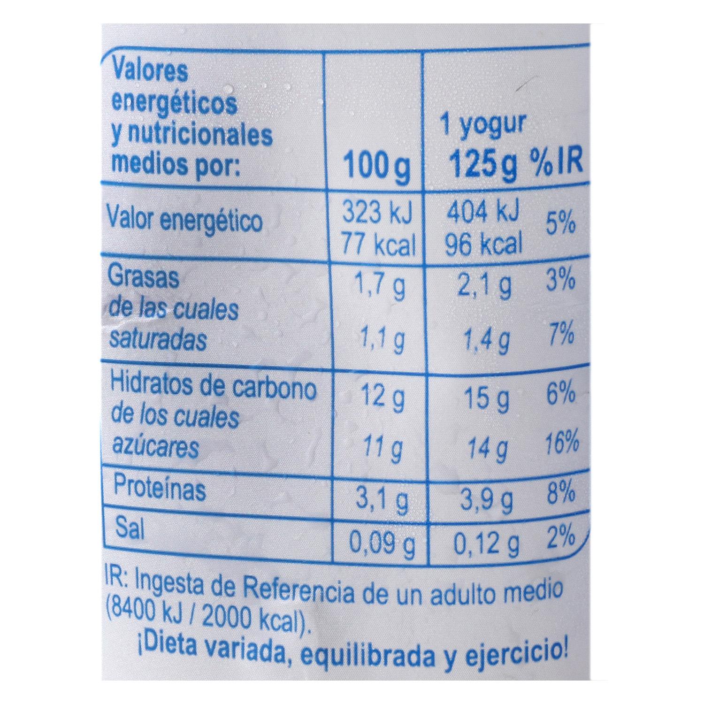 Yogur azucarado natural Carrefour pack de 4 unidades de 125 g. - 2