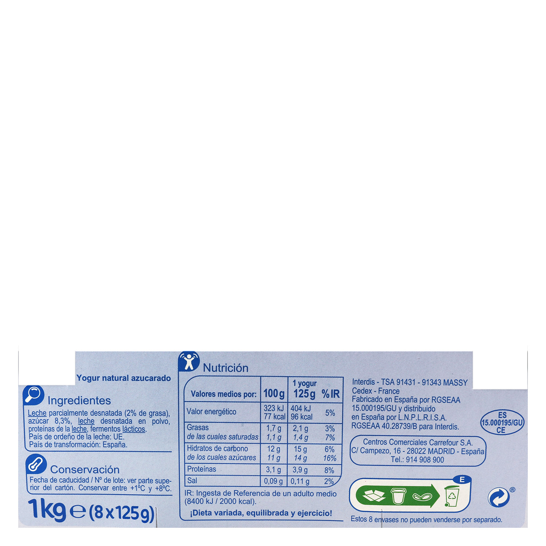 Yogur azucarado natural Carrefour pack de 8 unidades de 125 g. -