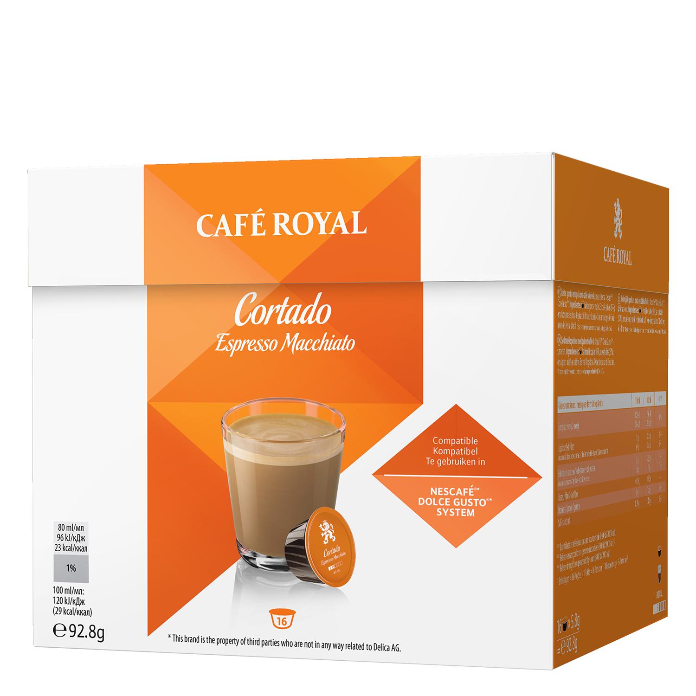 Café cortado espresso macchiato en cápsulas Royal compatible con Dolce Gusto 16 unidades de 5,8 g.