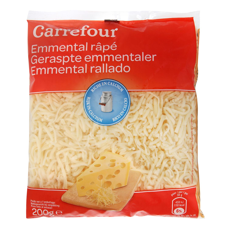 Queso rallado emmental Carrefour 200 g.