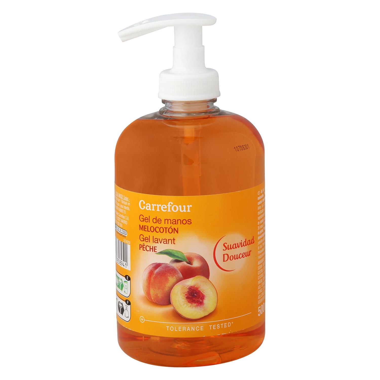 Jabón líquido de manos perfume melocotón Carrefour 500 ml.
