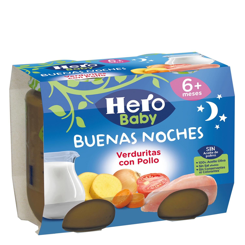 Tarrito de pollo con verduritas Hero Babynoches pack  de 2 unidades de 200 g.