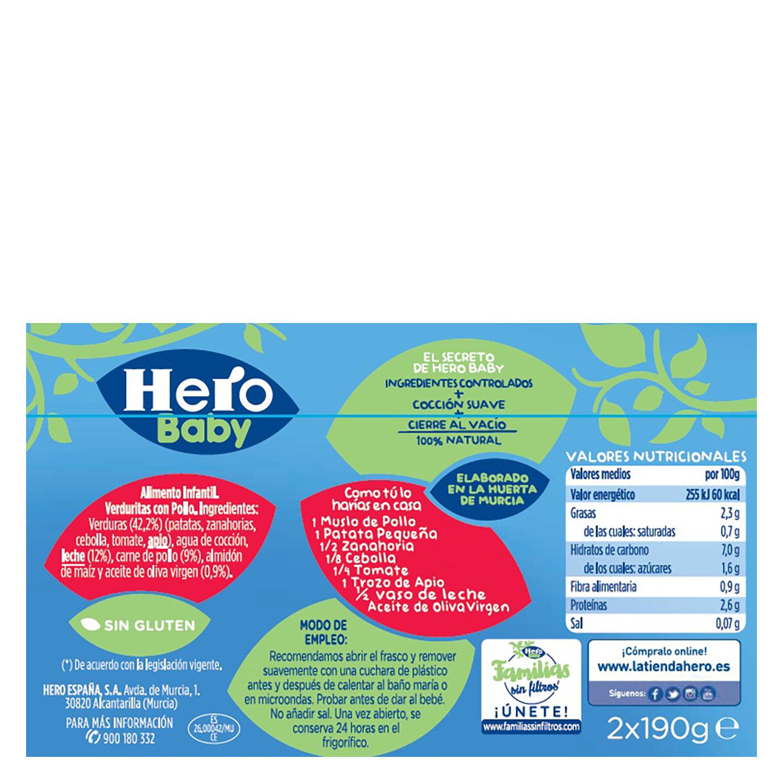 Tarrito de pollo con verduritas Hero Babynoches pack  de 2 unidades de 200 g. -
