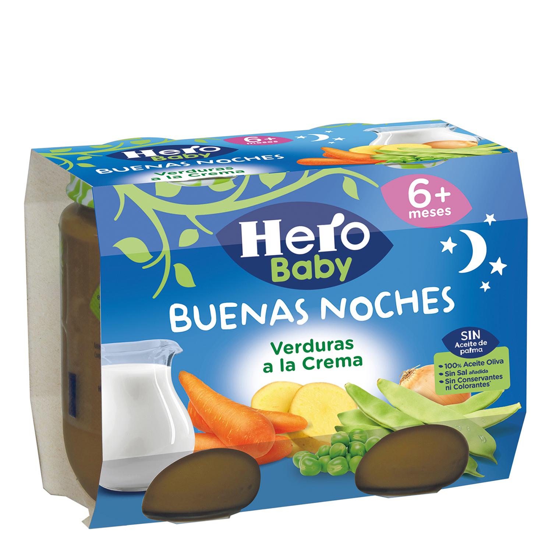 Tarrito de verduras a la crema Hero Babynoches pack de 2 unidades de 200 g.