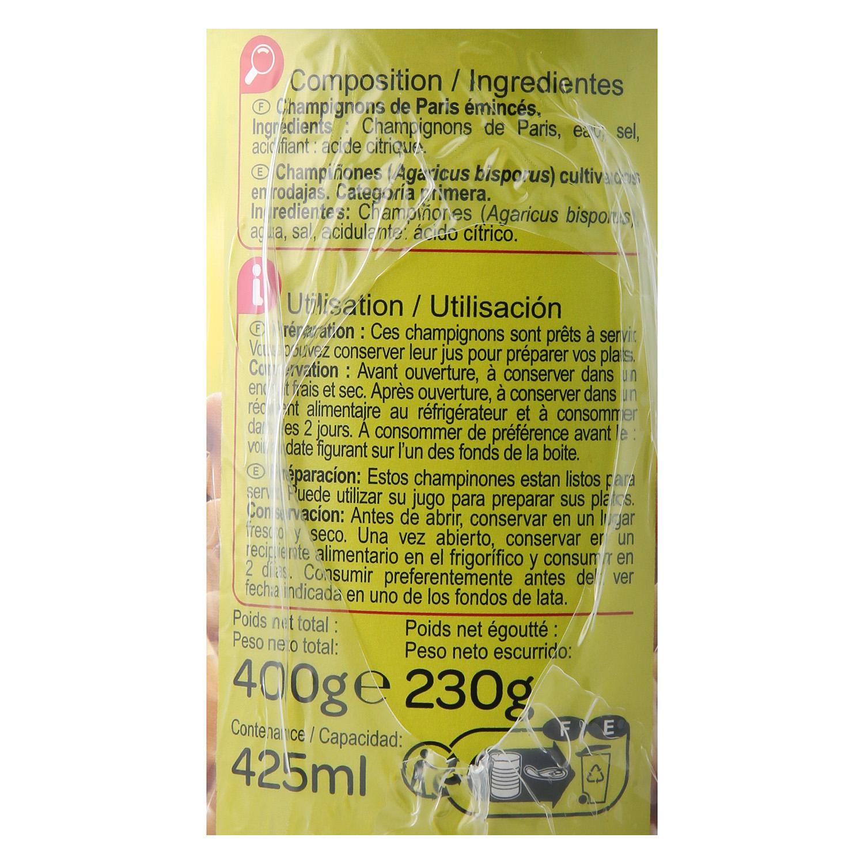 Champiñones laminados Carrefour 230 g. - 2