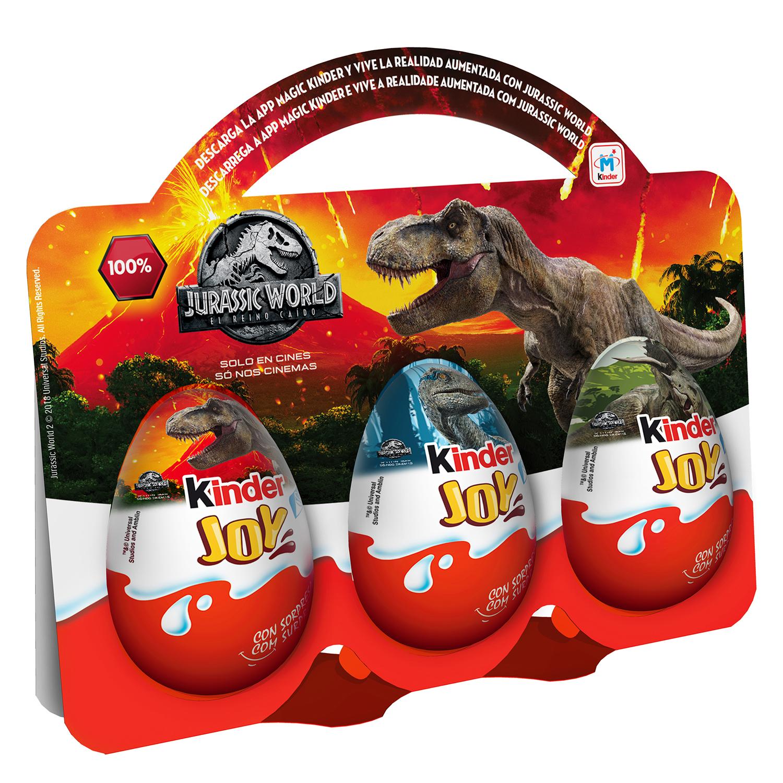 Huevos de chocolate con sorpresa Kinder pack de 3 unidades de 189 g.