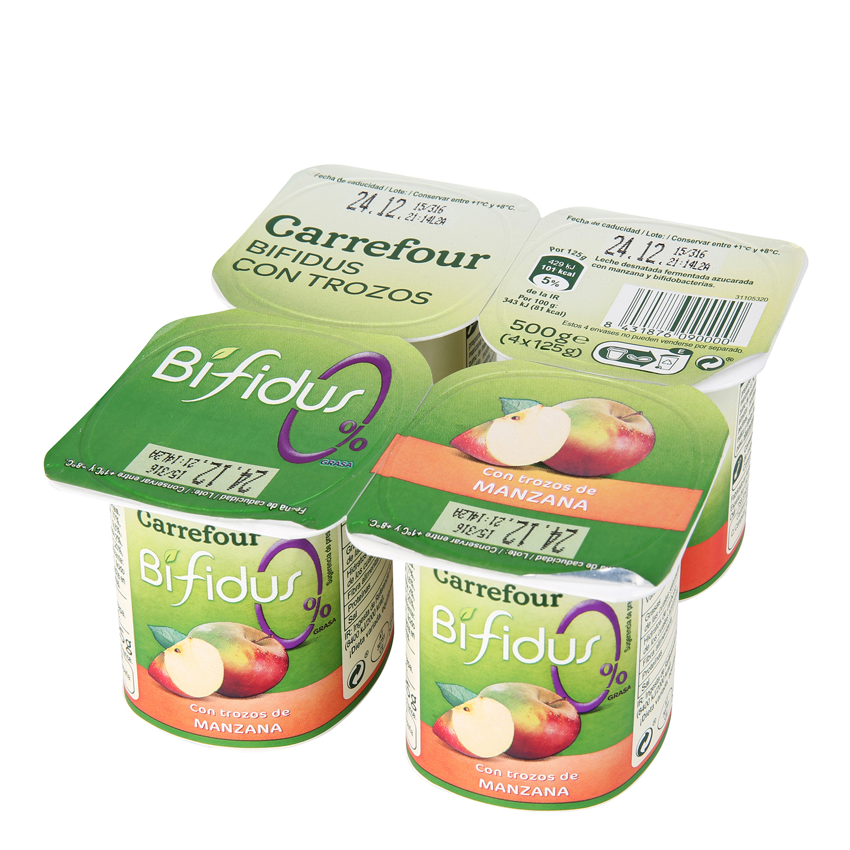 Yogur bífidus desnatado con trozos de manzana Carrefour pack de 4 unidades de 125 g.