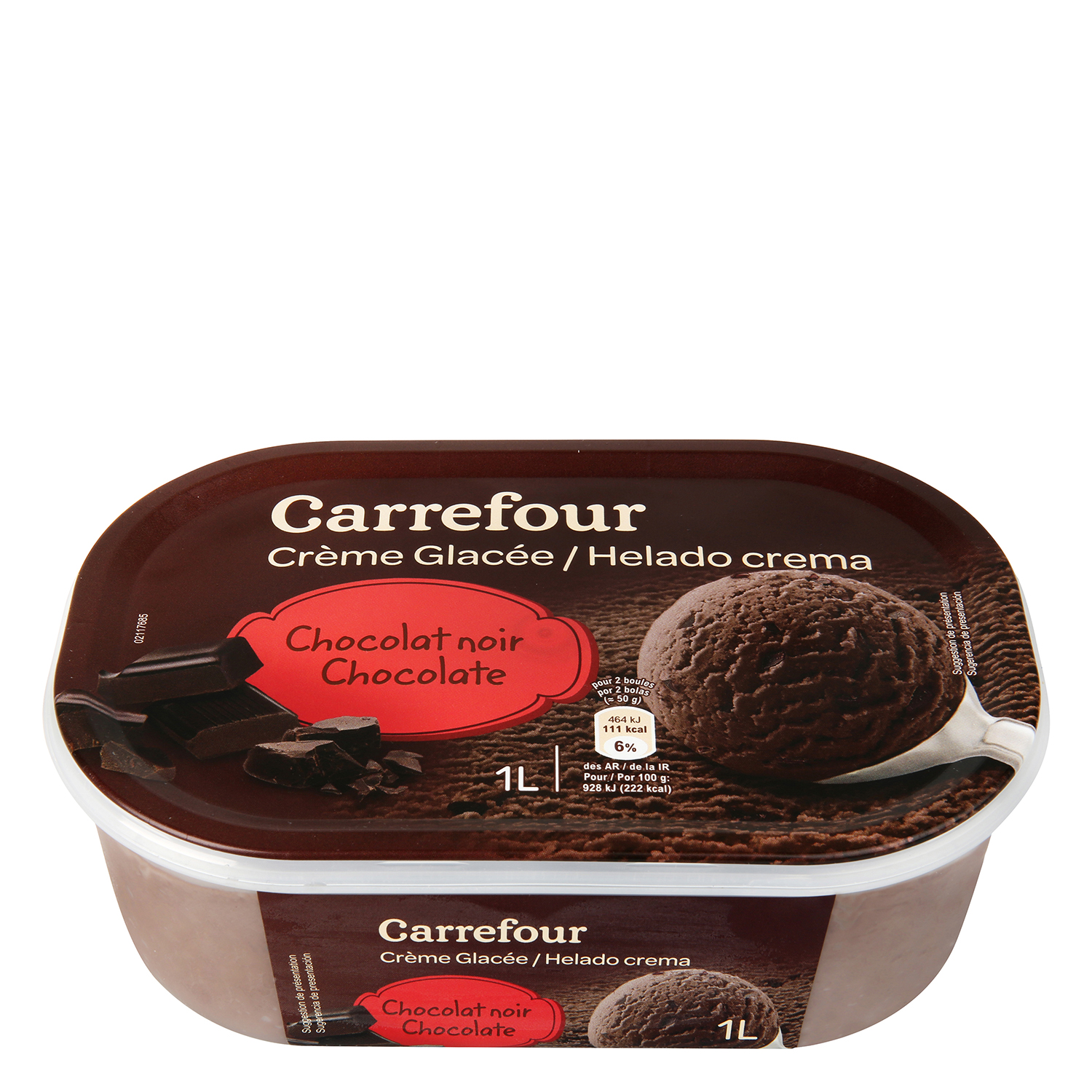 Helado de chocolate negro Carrefour 1000 ml.