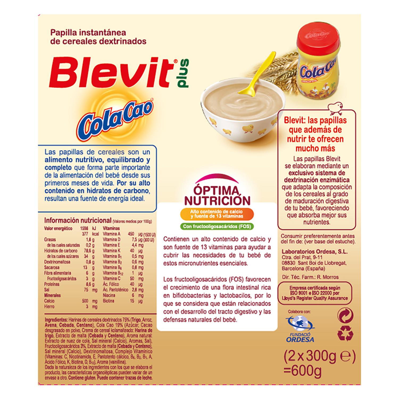 Papilla de cereales y ColaCao Blevit plus 600 g. -