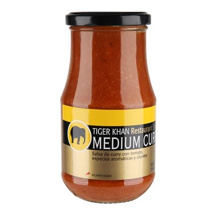 Salsa medium curry Shere Khan 425 g.