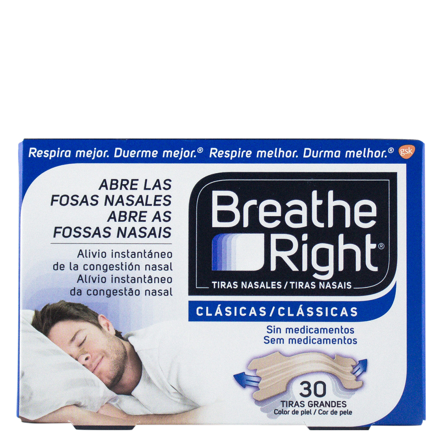 Tiras nasales clásicas tamaño grande Breathe Right 30 ud.