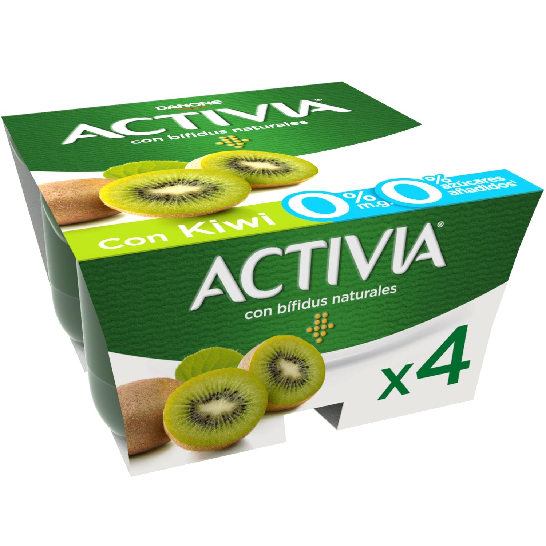 Yogur bífidus desnatado con kiwi Danone Activia pack de 4 unidades de 125 g.