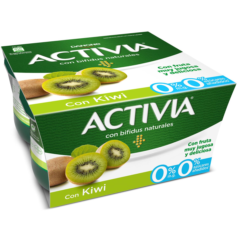 Yogur bífidus desnatado con kiwi Danone Activia pack de 4 unidades de 125 g. -
