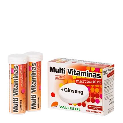 Multi Vitaminas + Ginseng Vallesol 24 comprimidos.