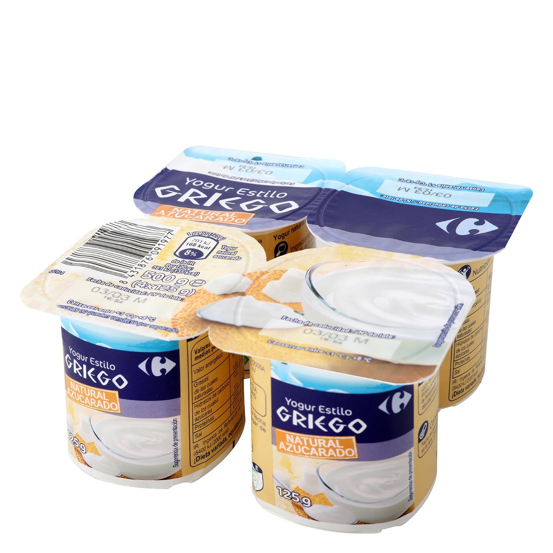 Yogur estilo griego azucarado natural Carrefour pack de 4 unidades de 125 g.