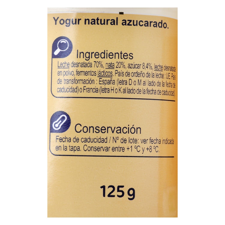 Yogur estilo griego azucarado natural Carrefour pack de 4 unidades de 125 g. -