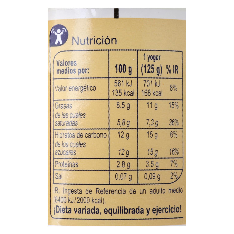 Yogur estilo griego azucarado natural Carrefour pack de 4 unidades de 125 g. - 2