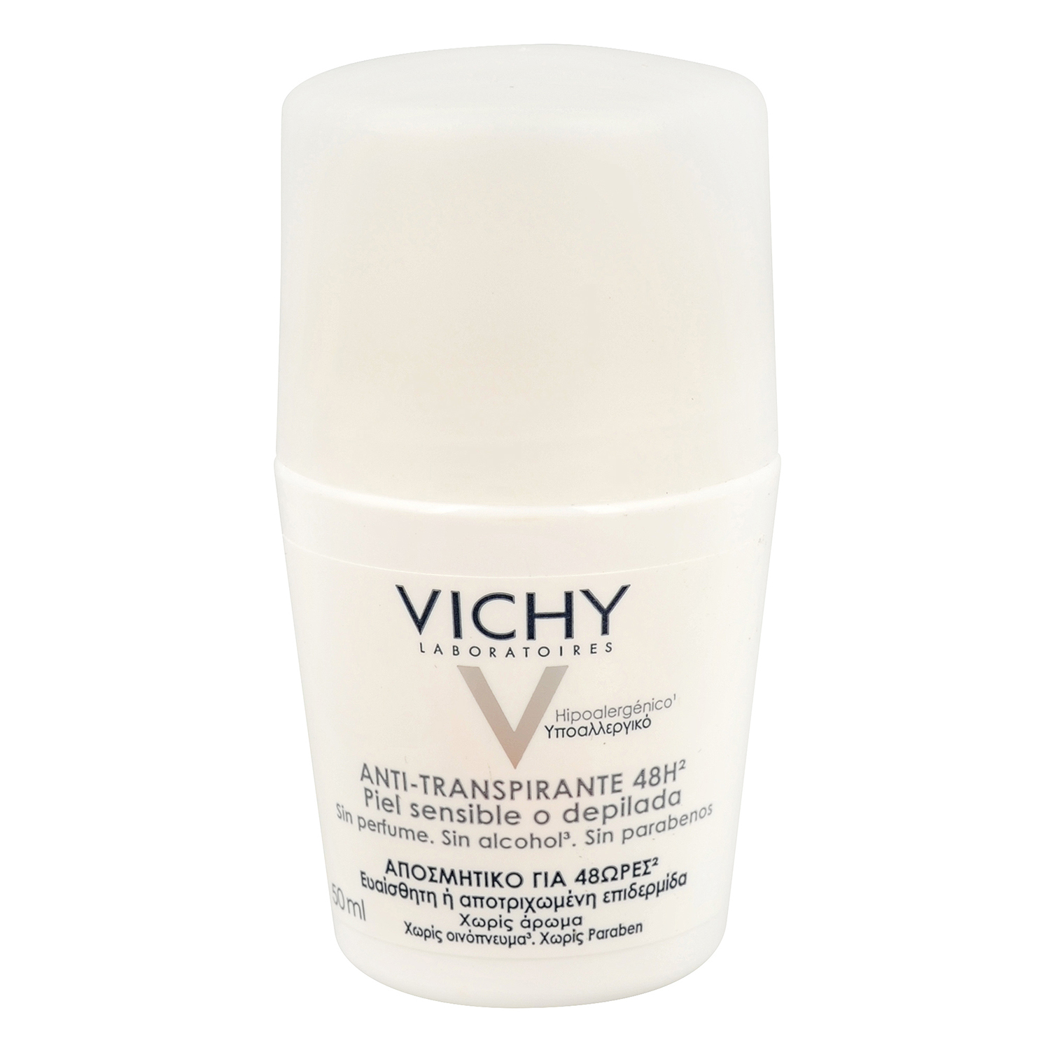 Desodorante roll-on anti-transpirante piel sensible o depilada 48h. Vichy 50 ml.