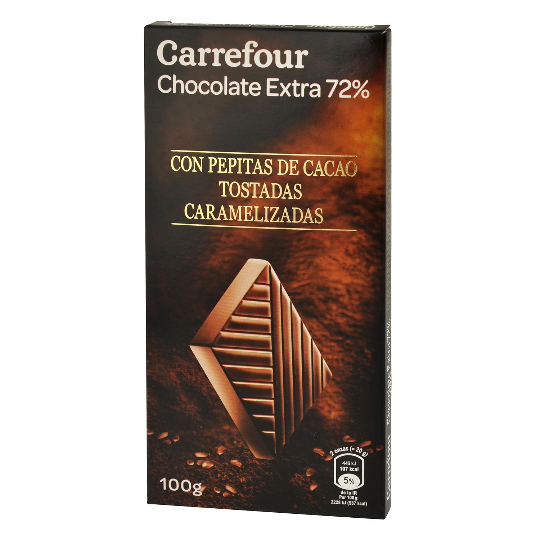 Chocolate negro 72% con pepitas de cacao tostadas caramelizadas Carrefour 100 g.