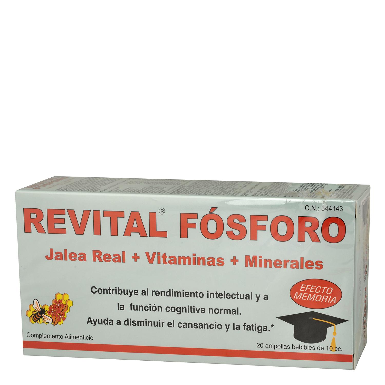 Fósforo complemento alimenticio Jalea real + vitaminas+ minerales Revital 20 ampollas.