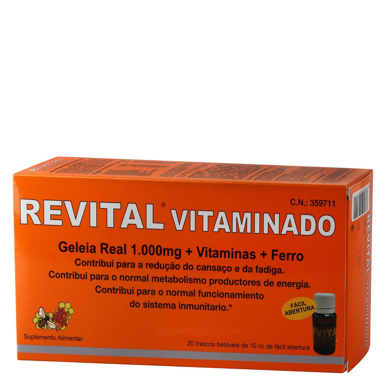 Complemento alimenticio con jalea real, vitaminas y hierro Revital 20 ud.
