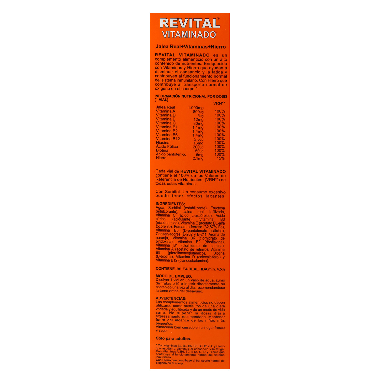 Complemento alimenticio con jalea real, vitaminas y hierro Revital 20 ud. - 2
