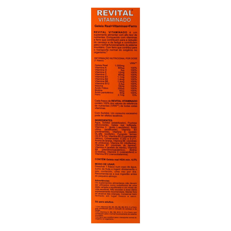 Complemento alimenticio con jalea real, vitaminas y hierro Revital 20 ud. -