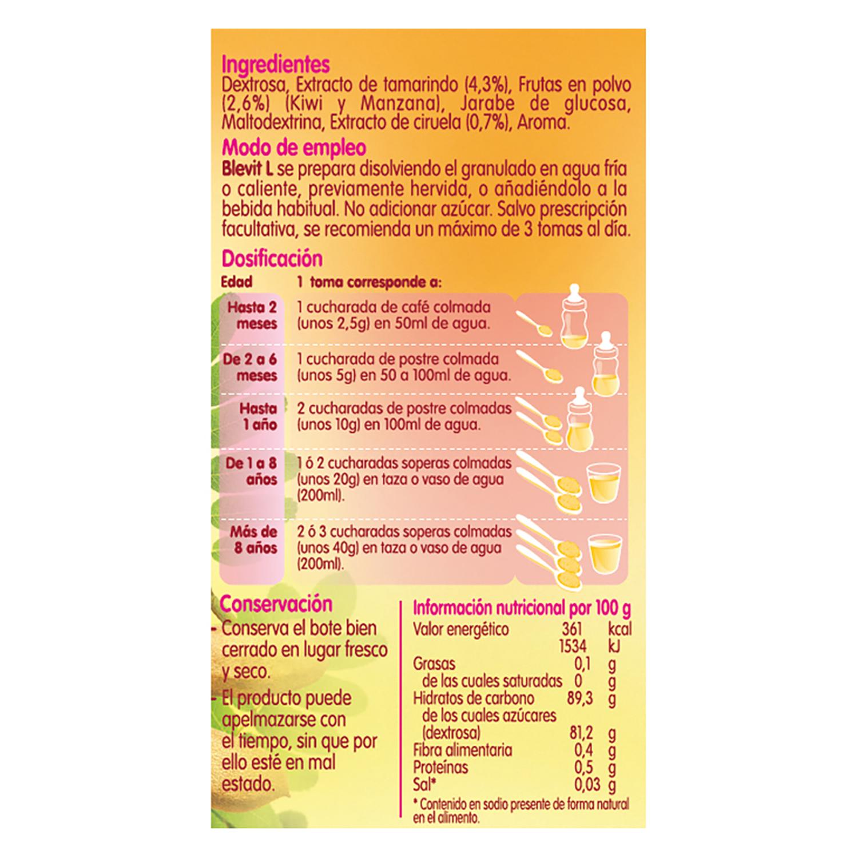 Preparado laxante con ciruela, tamarindo y kiwi Blevit L 150 g. -