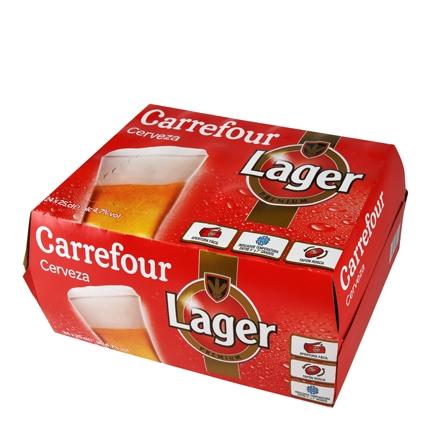 Cerveza Carrefour Lager pack de 24 botellas de 25 cl.