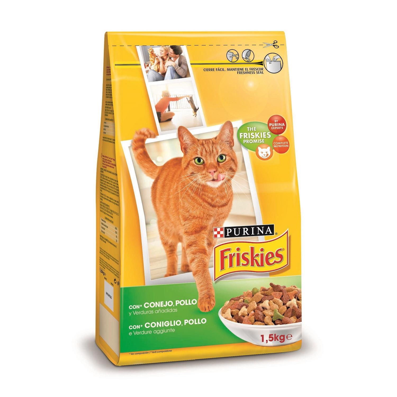 Purina Friskies Pienso para Gato Adulto Conejo, Pollo y Verduras 1,5Kg