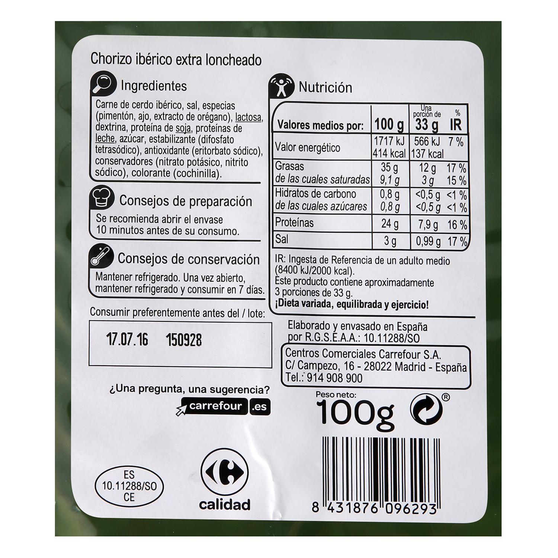 Chorizo Ibérico en lonchas Carrefour sin gluten 100 g. -