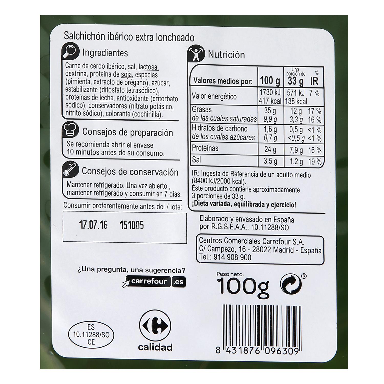 Salchichón Ibérico en lonchas - Sin Gluten Carrefour 100 g. -