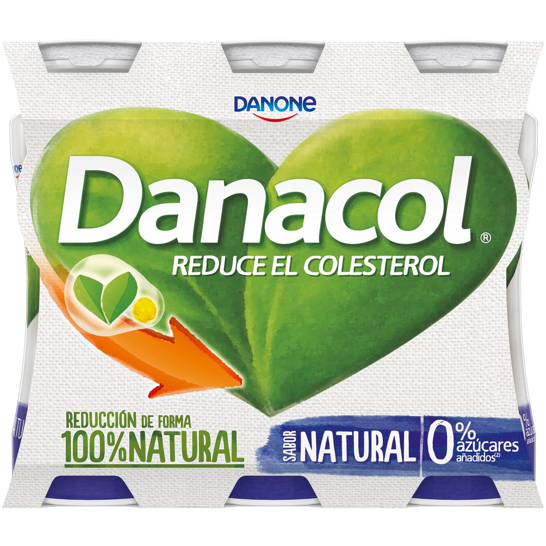 Yogur líquido natural Danone Danacol pack de 6 unidades de 100 g. -