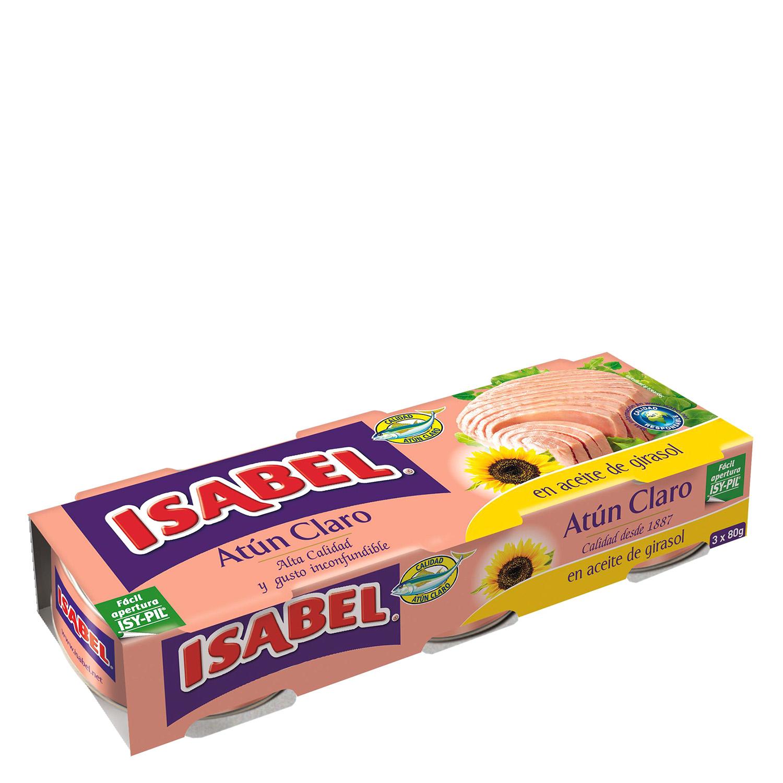 Atún claro en aceite de girasol Isabel pack de 3 unidades de 52 g.