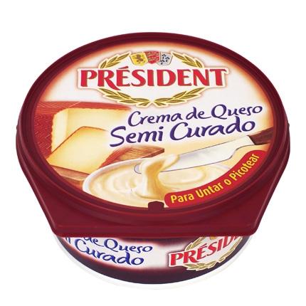 Crema de queso semicurado Président 125 g.