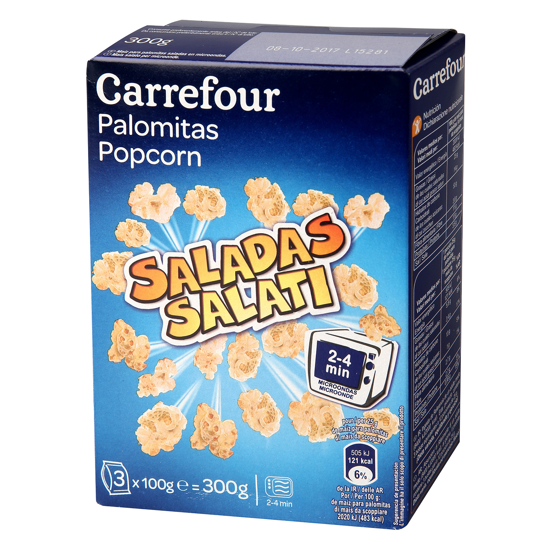 Palomitas saladas para microondas Carrefour pack de 3 bolsas de 100 g.