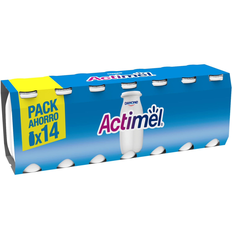 Yogur L.Casei liquido natural Danone Actimel pack de 14 unidades de 100 g.