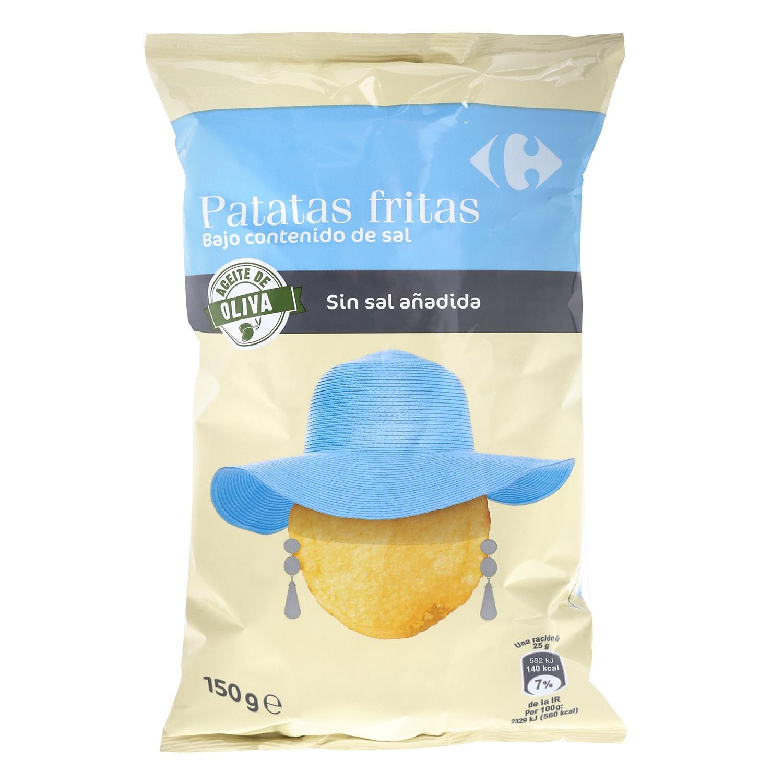 Patatas fritas en aceite de oliva contenido bajo de sal Carrefour 150 g.