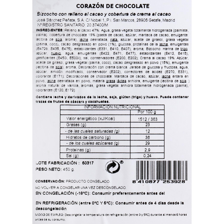 Corazón de chocolate JSP 450 g - 2