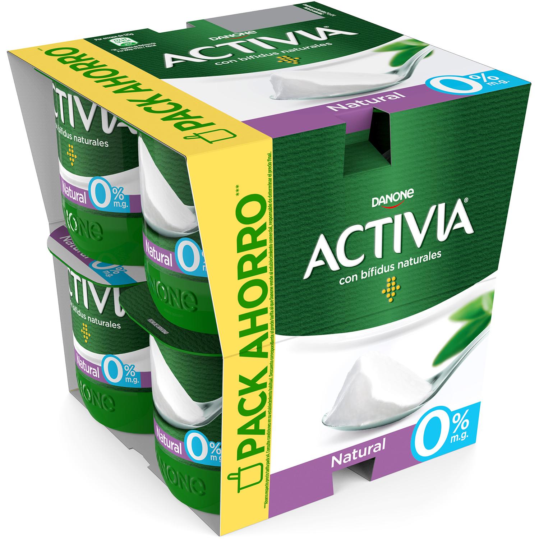 Yogur bífidus desnatado natural Danone Activia pack de 8 unidades de 125 g.