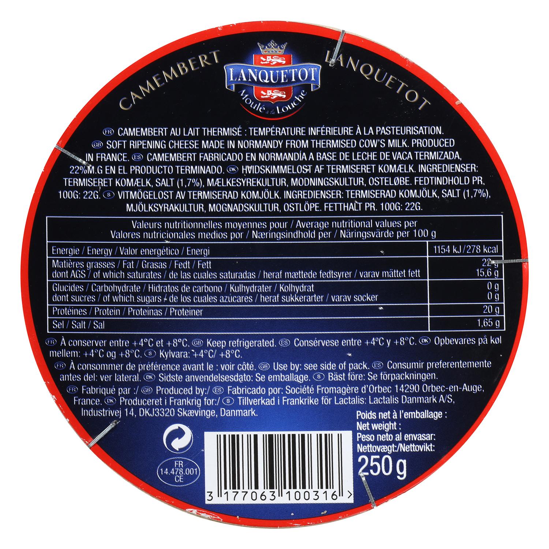 Queso camembert D.O. Lanquelot Lactalis 250 g - 2